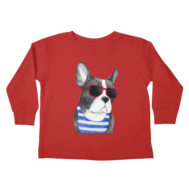 Frenchie Summer Style Kids Toddler Longsleeve T-Shirt by Barruf