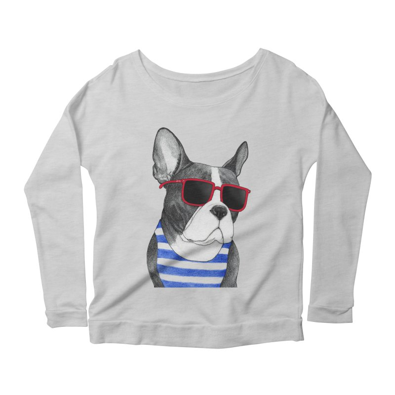 Frenchie Summer Style Women's Scoop Neck Longsleeve T-Shirt by Barruf