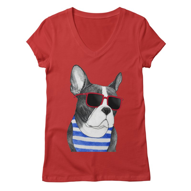 Frenchie Summer Style Women's V-Neck by Barruf