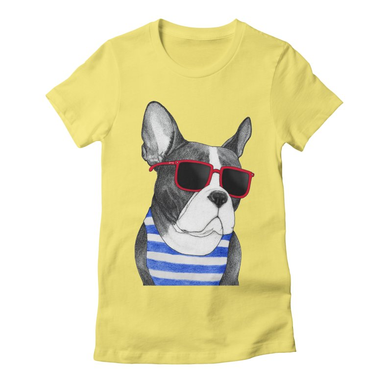 Frenchie Summer Style Women's Fitted T-Shirt by Barruf