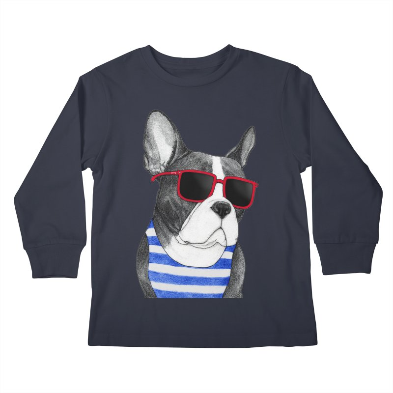 Frenchie Summer Style Kids Longsleeve T-Shirt by Barruf