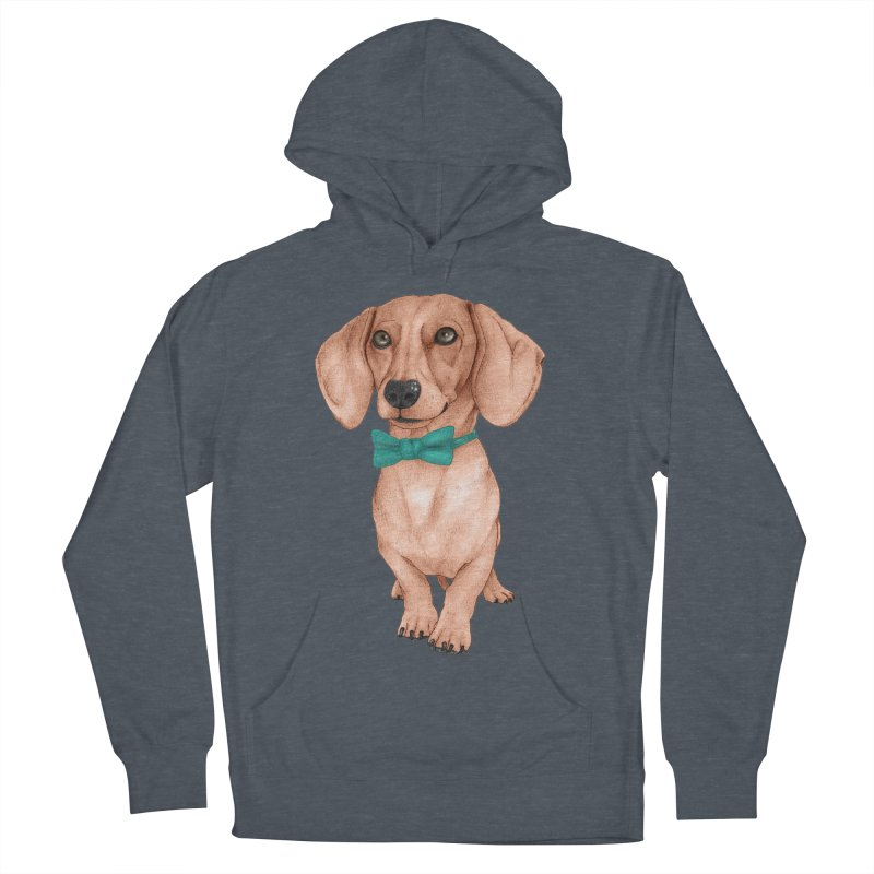 Dachshund, The Wiener Dog Men's French Terry Pullover Hoody by Barruf