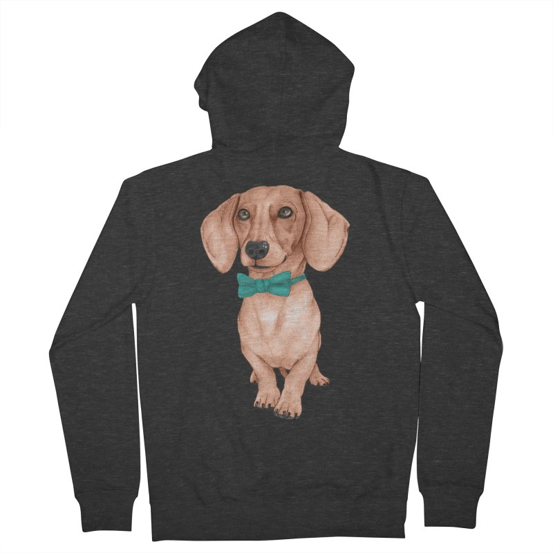 Dachshund, The Wiener Dog Men's French Terry Zip-Up Hoody by Barruf