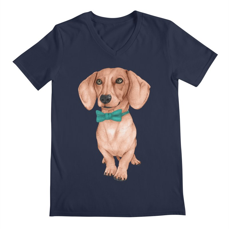 Dachshund, The Wiener Dog Men's Regular V-Neck by Barruf