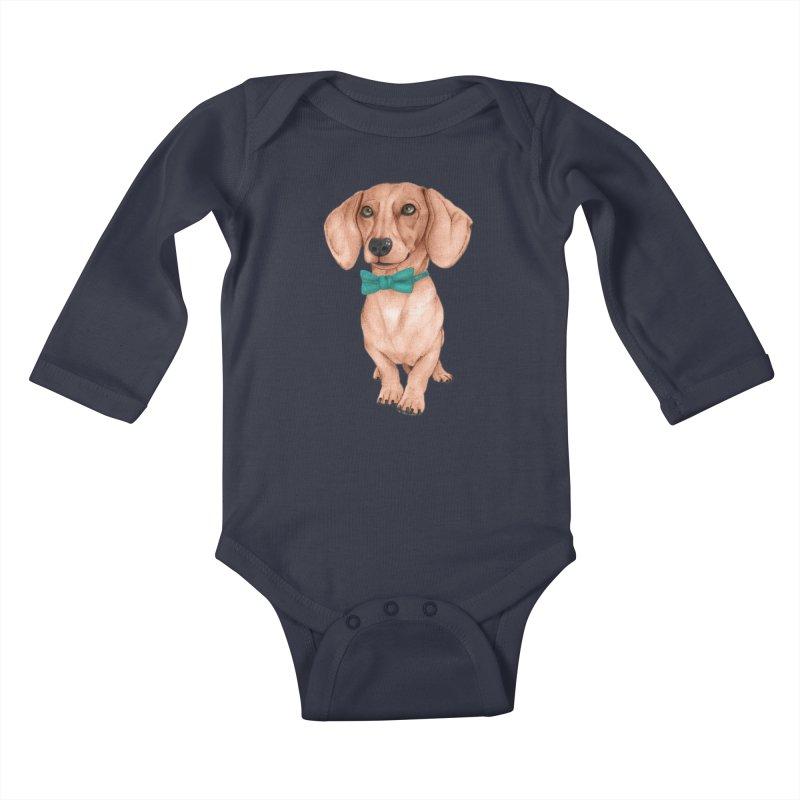 Dachshund, The Wiener Dog Kids Baby Longsleeve Bodysuit by Barruf