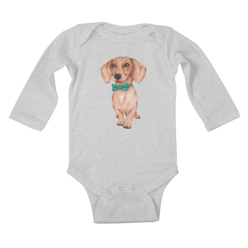 Dachshund, The Wiener Dog Kids Baby Longsleeve Bodysuit by Barruf