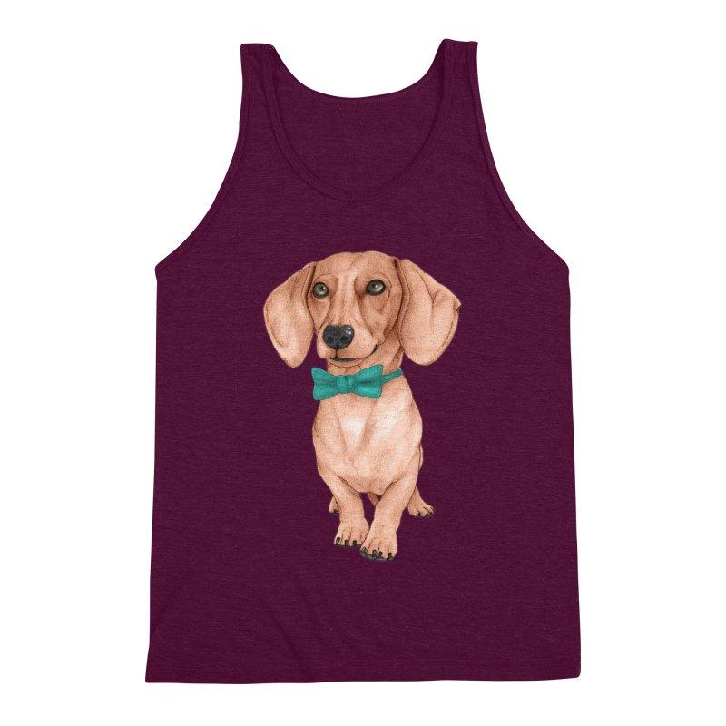 Dachshund, The Wiener Dog Men's Triblend Tank by Barruf