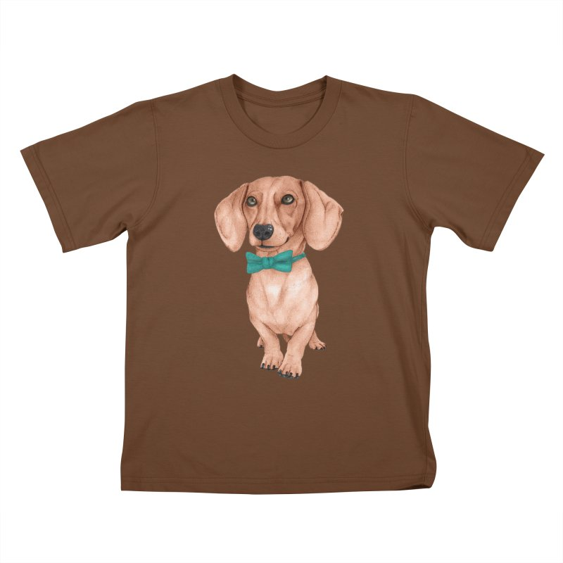 Dachshund, The Wiener Dog Kids T-Shirt by Barruf