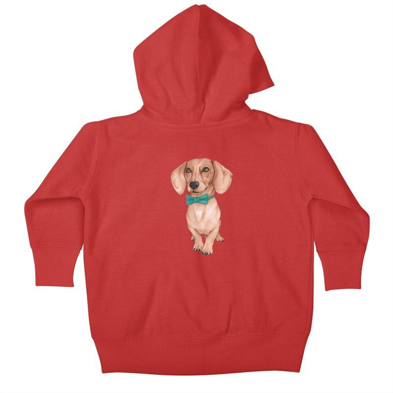 Dachshund, The Wiener Dog Kids Baby Zip-Up Hoody by Barruf