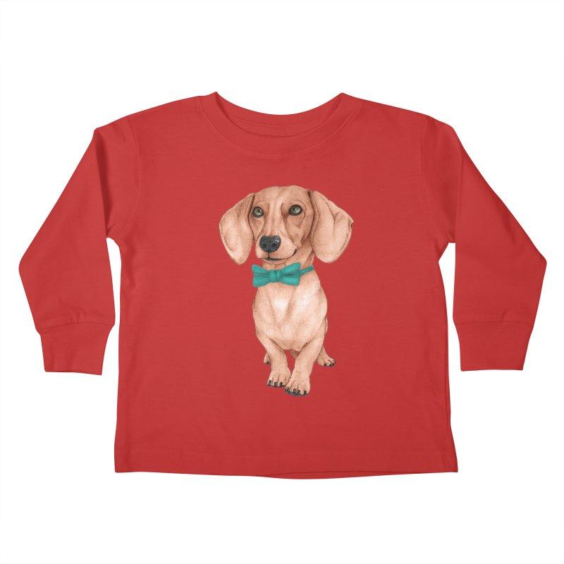 Dachshund, The Wiener Dog Kids Toddler Longsleeve T-Shirt by Barruf