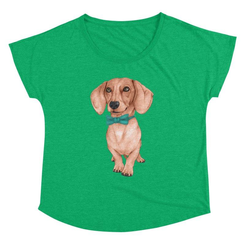 Dachshund, The Wiener Dog Women's Dolman Scoop Neck by Barruf