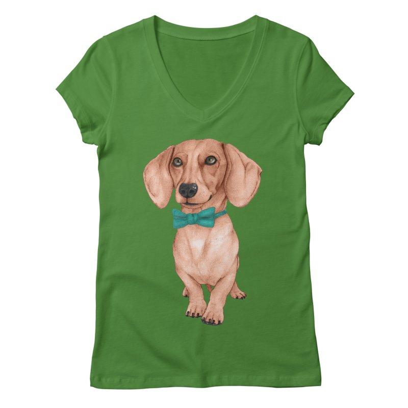Dachshund, The Wiener Dog Women's Regular V-Neck by Barruf