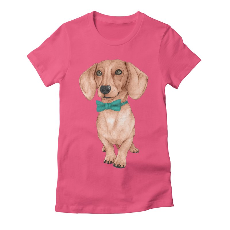 Dachshund, The Wiener Dog Women's Fitted T-Shirt by Barruf