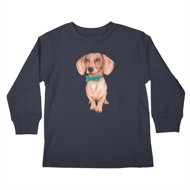 Dachshund, The Wiener Dog Kids Longsleeve T-Shirt by Barruf