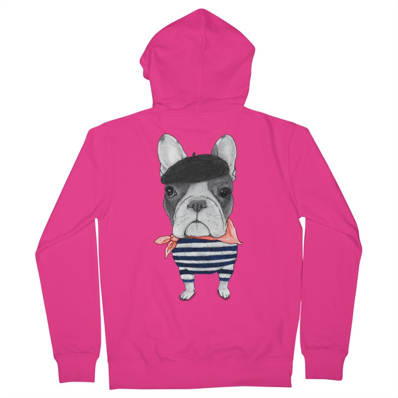 French Bulldog Men's French Terry Zip-Up Hoody by Barruf