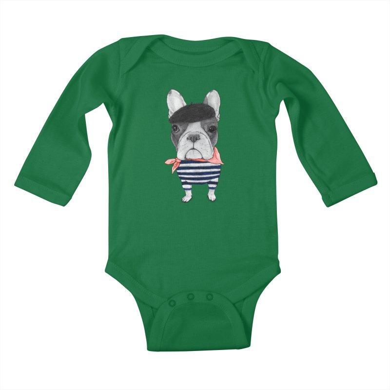 French Bulldog Kids Baby Longsleeve Bodysuit by Barruf