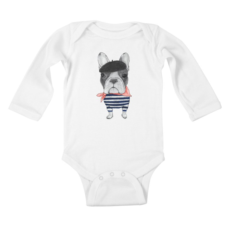 French Bulldog Kids Baby Longsleeve Bodysuit by Barruf
