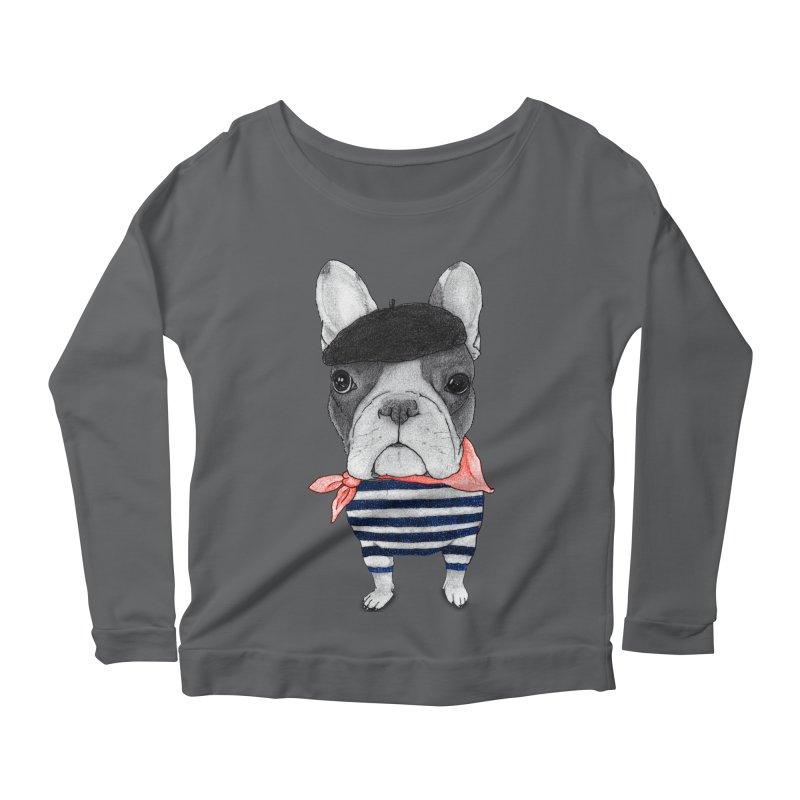 French Bulldog Women's Scoop Neck Longsleeve T-Shirt by Barruf