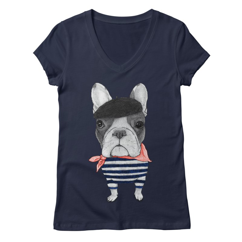 French Bulldog Women's Regular V-Neck by Barruf