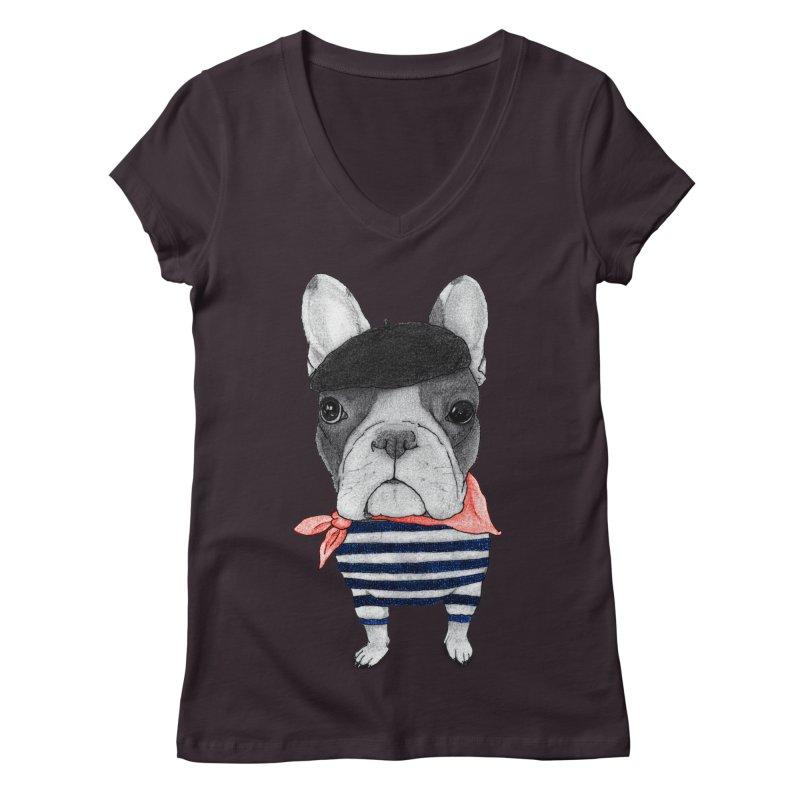 French Bulldog Women's V-Neck by Barruf