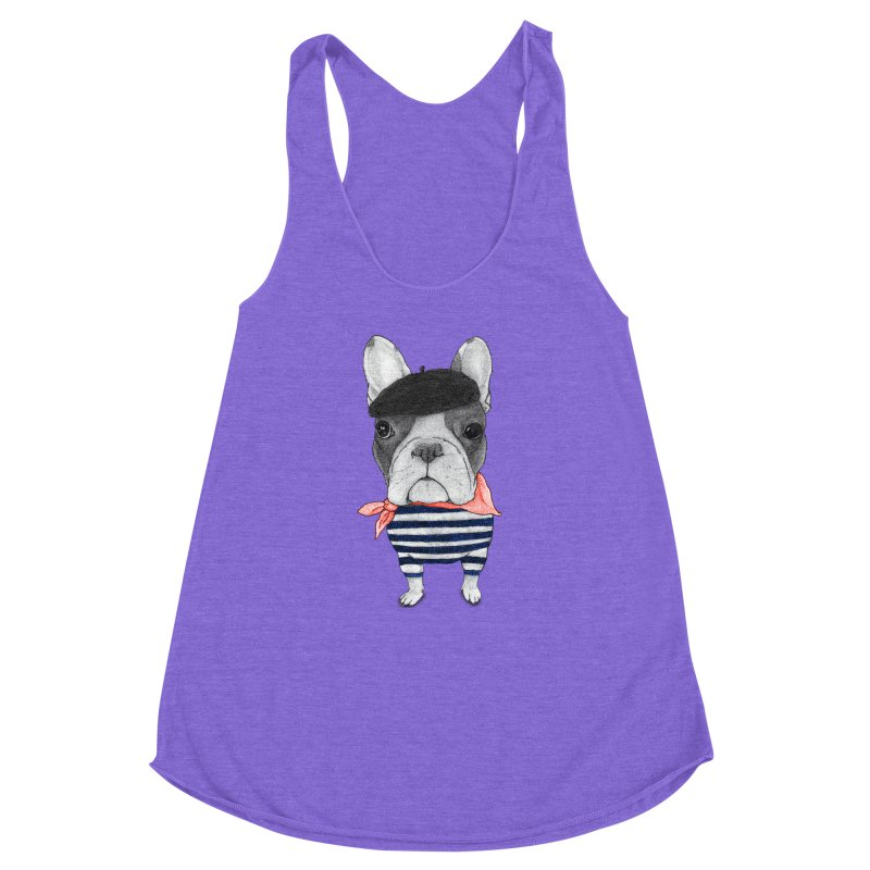 French Bulldog Women's Racerback Triblend Tank by Barruf