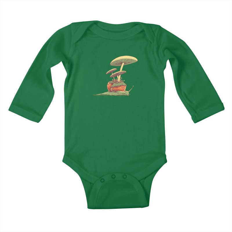 Shrooms & Snails Kids Baby Longsleeve Bodysuit by Barry Blankenship Shirts
