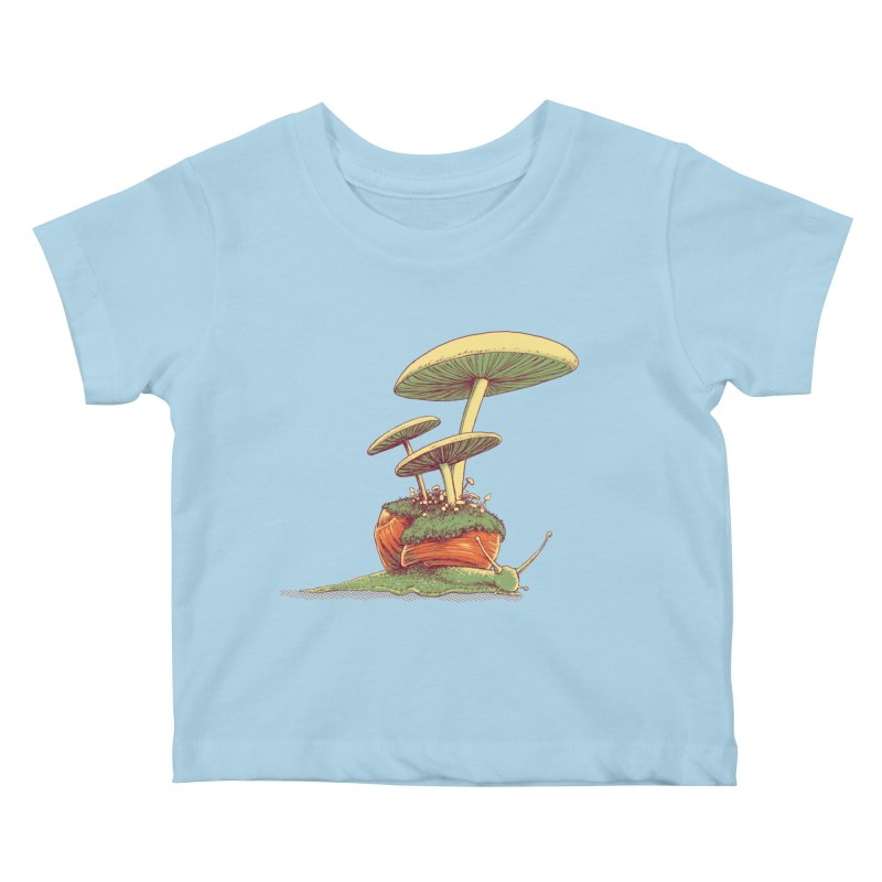 Shrooms & Snails Kids Baby T-Shirt by Barry Blankenship Shirts