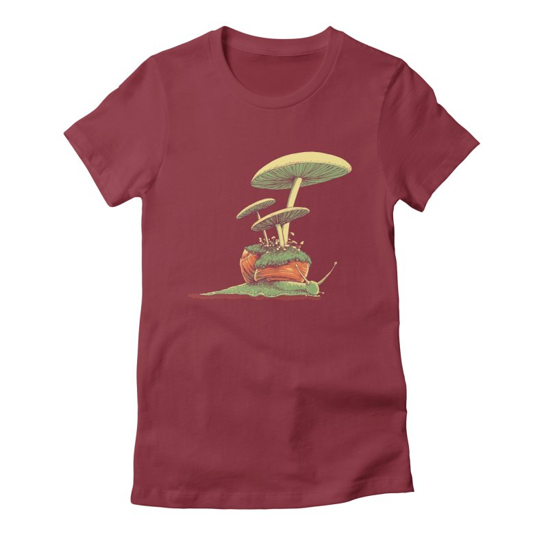 Shrooms & Snails Women's Fitted T-Shirt by Barry Blankenship Shirts