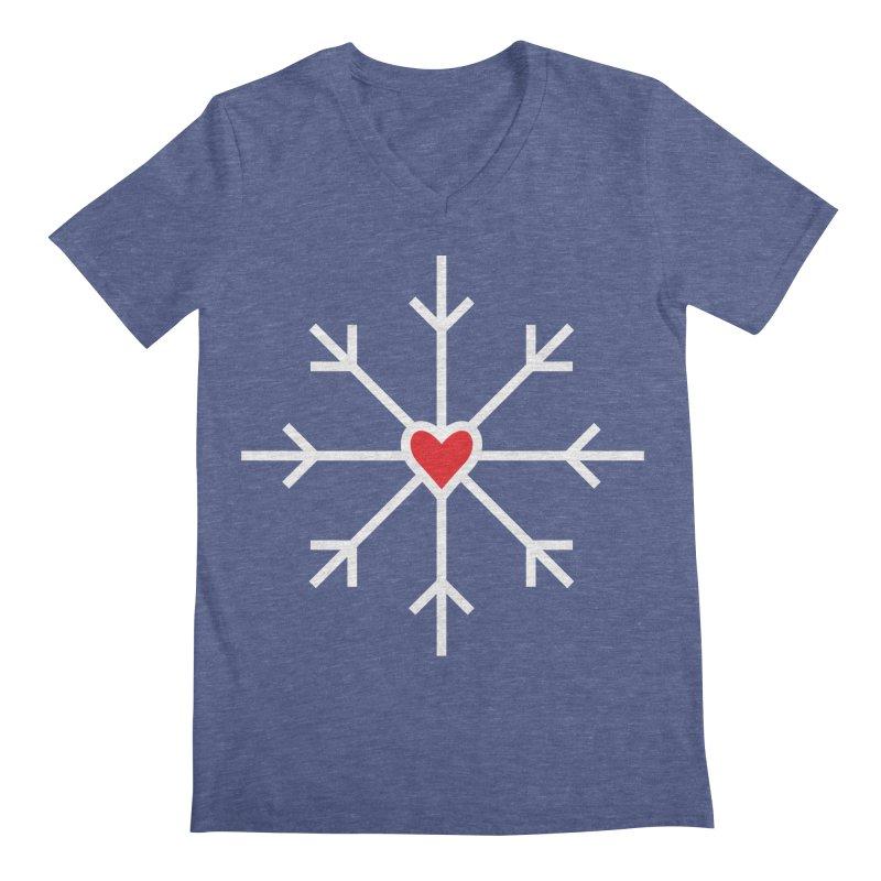 Snowflake Men's Regular V-Neck by Barry Blankenship Shirts