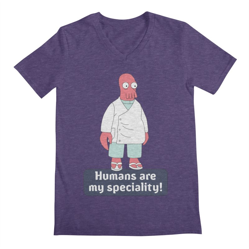 Humans Are My Speciality Men's Regular V-Neck by Christoph Bartneck's Design Shop