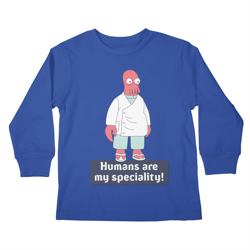 Humans Are My Speciality Kids Longsleeve T-Shirt by Christoph Bartneck's Design Shop