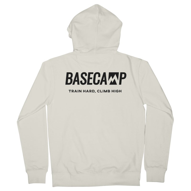 Black Logo Men's French Terry Zip-Up Hoody by Base Camp Team Merch