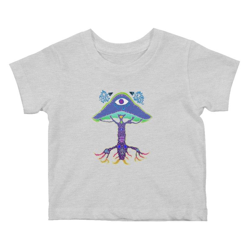 Purple Mushroom Medicine Kids Baby T-Shirt by Baston's T-Shirt Emporium!