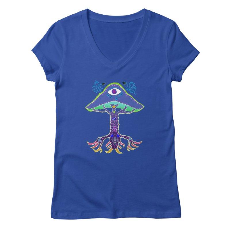 Purple Mushroom Medicine Women's V-Neck by Baston's T-Shirt Emporium!