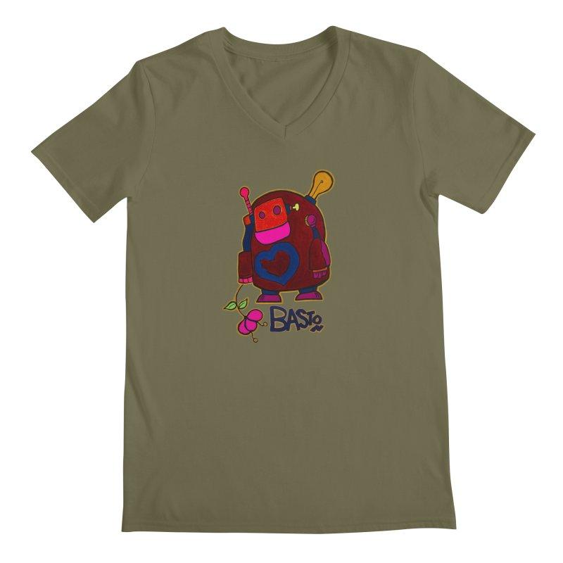 Robot Love 2 Men's V-Neck by Baston's T-Shirt Emporium!