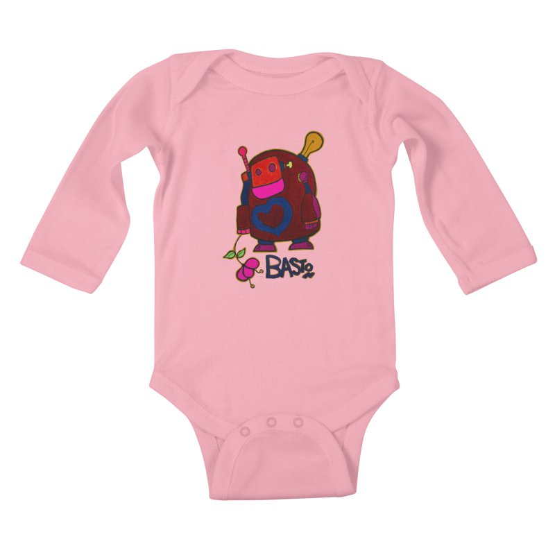Robot Love 2 Kids Baby Longsleeve Bodysuit by Baston's T-Shirt Emporium!