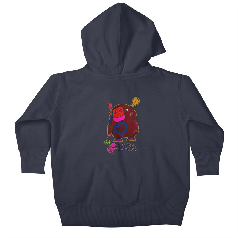 Robot Love 2 Kids Baby Zip-Up Hoody by Baston's T-Shirt Emporium!