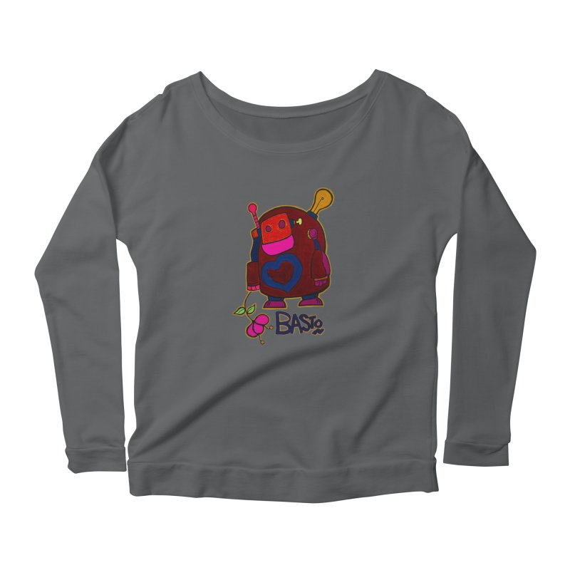 Robot Love 2 Women's Longsleeve Scoopneck  by Baston's T-Shirt Emporium!