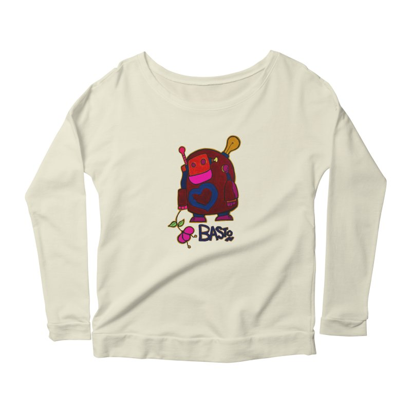 Robot Love 2 Women's Longsleeve Scoopneck  by Baston's T-Shirt Emporium!