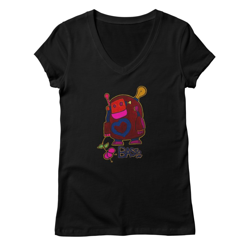 Robot Love 2 Women's V-Neck by Baston's T-Shirt Emporium!
