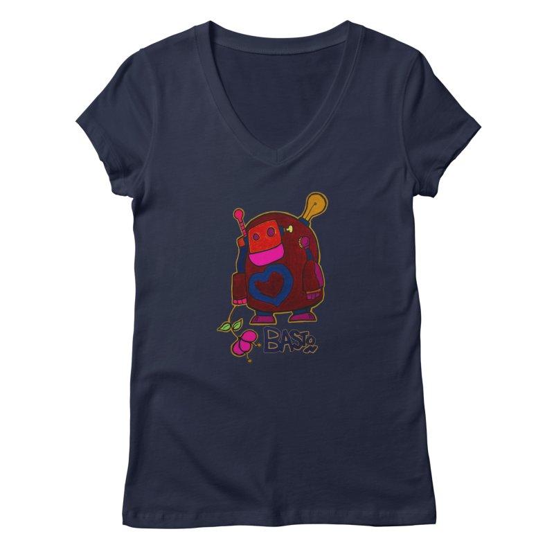 Robot Love 2 Women's V-Neck by Baston's T-Shirt Emporium!