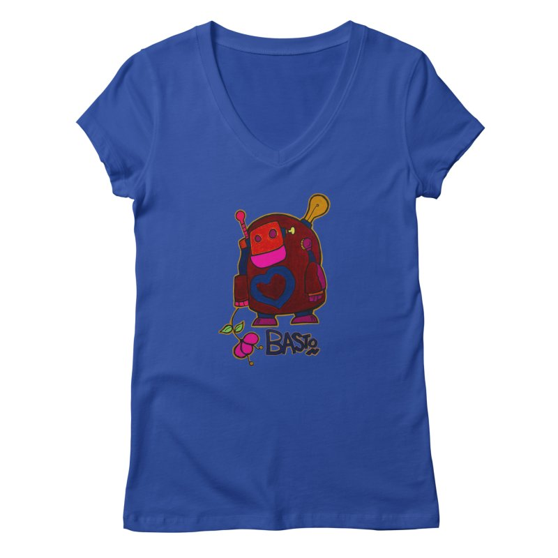 Robot Love 2 Women's Regular V-Neck by Baston's T-Shirt Emporium!