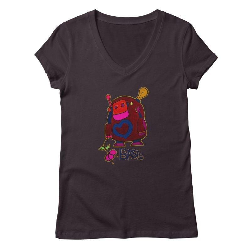 Robot Love 2 Women's Regular V-Neck by Baston's T-Shirt Emporium!