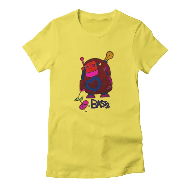 Robot Love 2 Women's Fitted T-Shirt by Baston's T-Shirt Emporium!