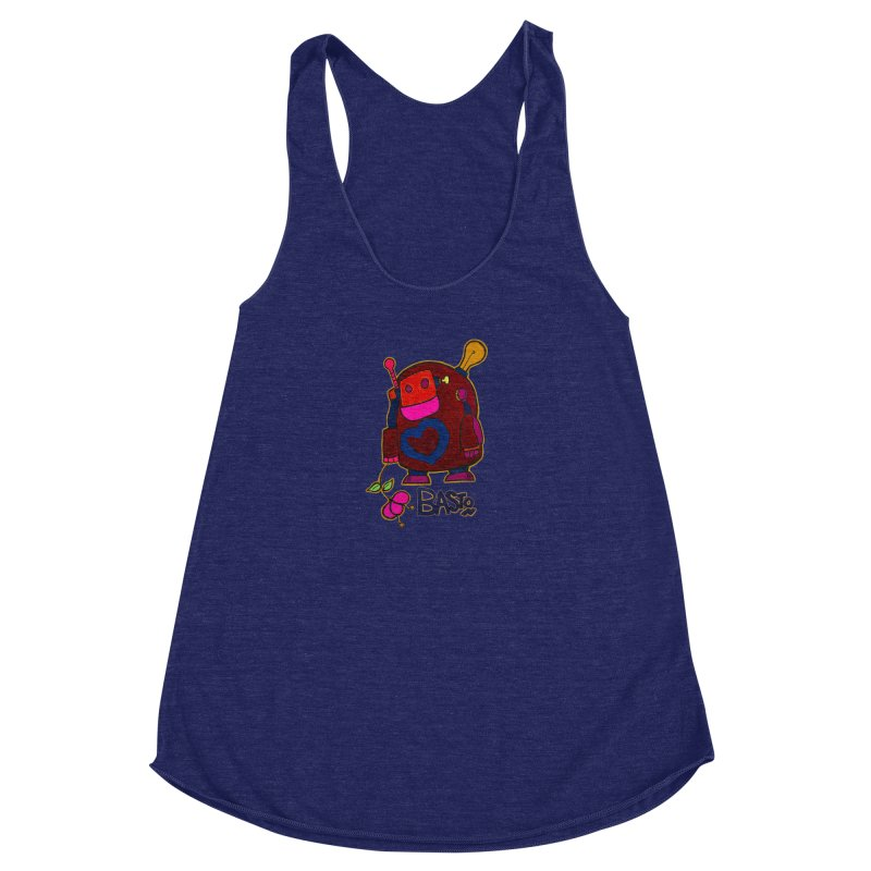 Robot Love 2 Women's Racerback Triblend Tank by Baston's T-Shirt Emporium!
