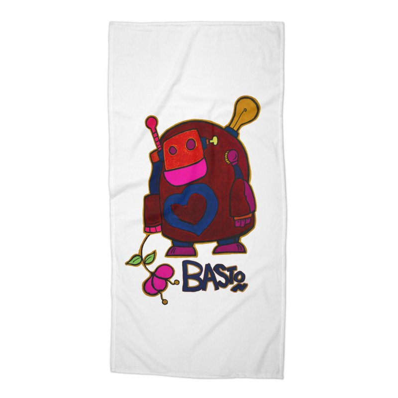 Robot Love 2 Accessories Beach Towel by Baston's T-Shirt Emporium!