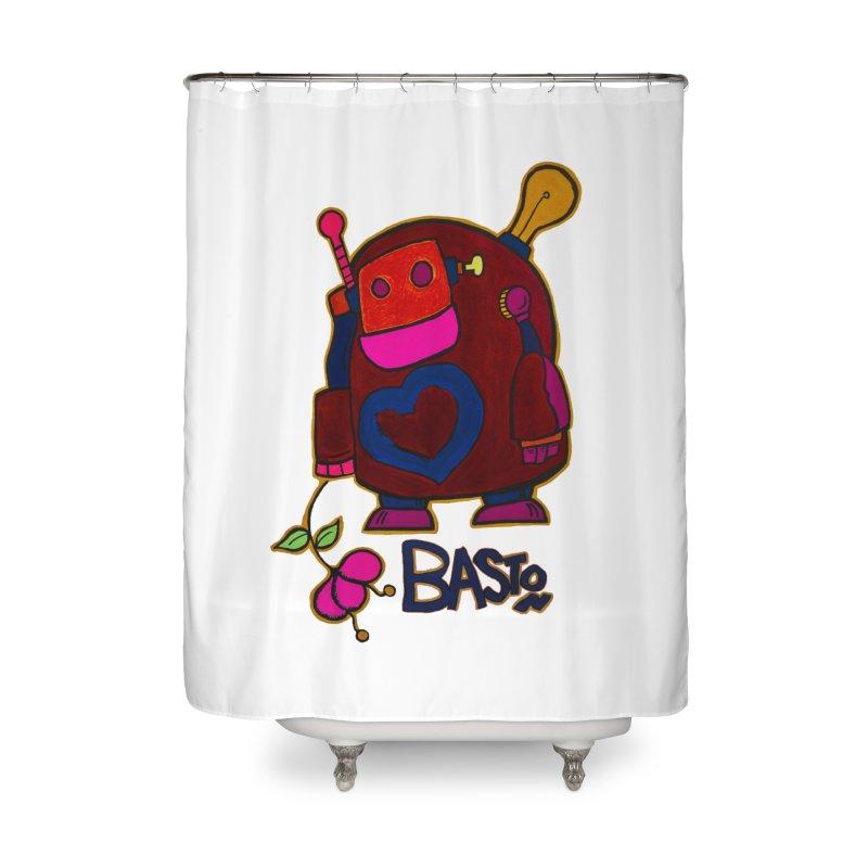 Robot Love 2 Home Shower Curtain by Baston's T-Shirt Emporium!