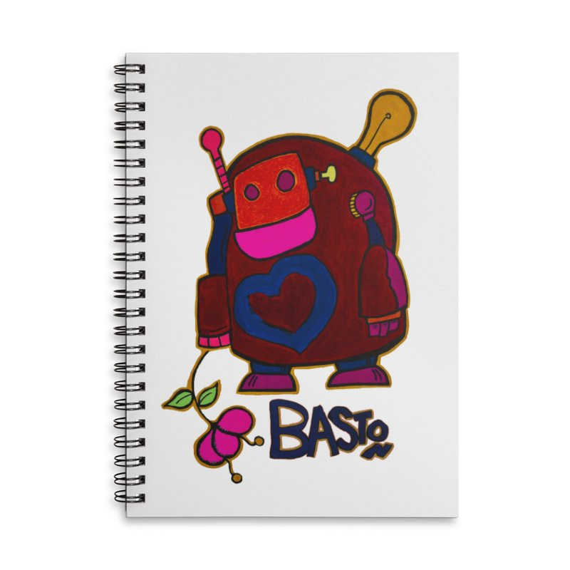 Robot Love 2 Accessories Lined Spiral Notebook by Baston's T-Shirt Emporium!