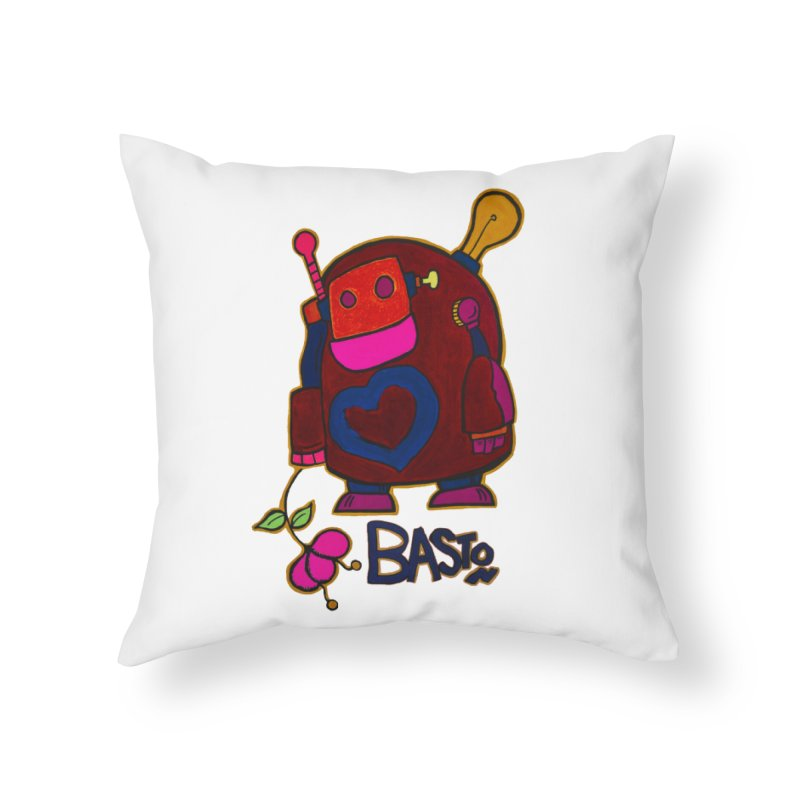Robot Love 2 Home Throw Pillow by Baston's T-Shirt Emporium!