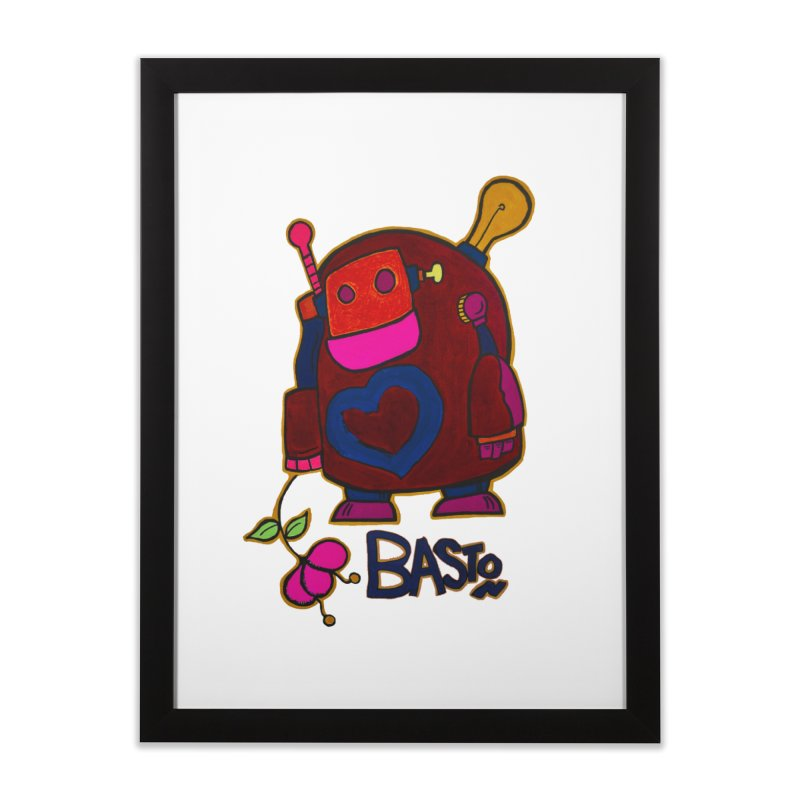 Robot Love 2 Home Framed Fine Art Print by Baston's T-Shirt Emporium!